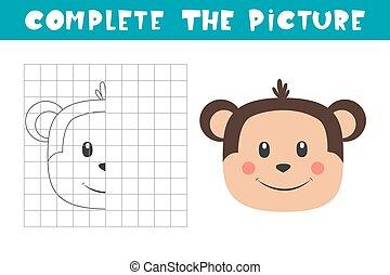 monkey., book., picture., befejez, másol, page., játék, elfoglaltság, film, színezés, művészet, gyerekek