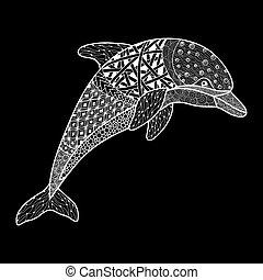 monochrom, dekoratív, gyönyörű, vagy, mehandi, elszigetelt, háttér., cikornya, fehér, skicc, element., vektor, szüret, tetovál, kéz, húzott, ábra, tervezés, fekete, delfin