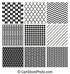 monochrom, geometriai, seamless, háttér, példa