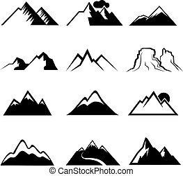 monochrom, ikonok, vektor, hegy