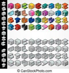 monochrom, isometric, betűtípus, 3, többszínű