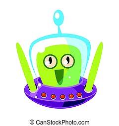 monster., csinos, színes, betű, vektor, zöld külföldi, karikatúra, meglepődött