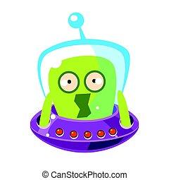 monster., csinos, színes, megrémült, betű, vektor, zöld külföldi, karikatúra