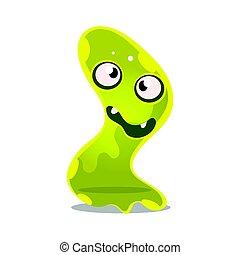 monster., furcsa, csinos, betű, zselé, ábra, karikatúra, iszapos, fényes, vektor, zöld, barátságos