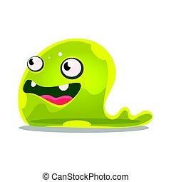 monster., furcsa, színes, csinos, betű, zselé, ábra, iszapos, vektor, zöld, karikatúra