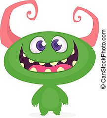 monster., vektor, ábra, furcsa, karikatúra