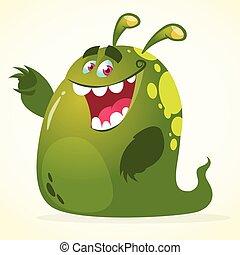 monster., vektor, zöld, karikatúra, folt