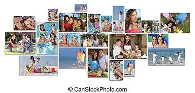 montázs, boldog, életmód, család, két, szülők, gyerekek, &