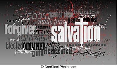 montázs, keresztény, üdvözítés, szó