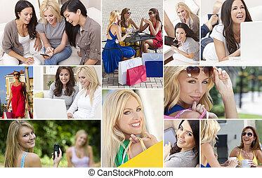 montázs, modern életmód, női, nők