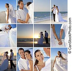 montázs, tengerpart, párosít, esküvő, romantikus