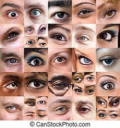 montázs, változatosság, szemek, elvont