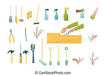 mopszli, seprűk, wiping., tégla, kezezés szerszám, sprayers, réteg, megjavítás, jó ruhaanyag, lapát, set.
