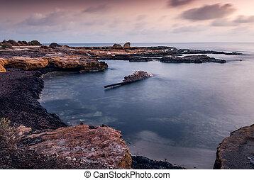 morgning, tengerpart, sziklás