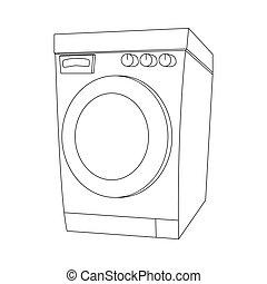 mosás, áttekintés, elszigetelt, gép, tervezés, háttér, fehér, karikatúra
