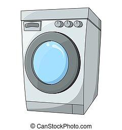 mosás, elszigetelt, gép, tervezés, háttér, fehér, karikatúra