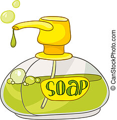 mosdóhelyiség, otthon, karikatúra, szappan