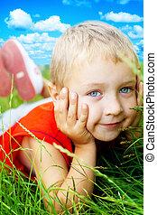 mosoly, boldog, fű, csinos, gyermek, eredet