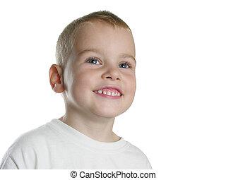 mosoly, fehér, fiú
