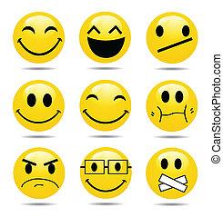 mosoly, ikon, állhatatos, vektor