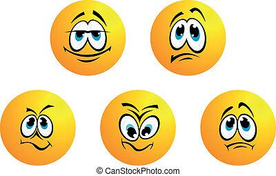 mosoly, különböző, öt, kifejezések