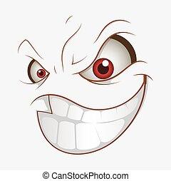 mosoly, rossz, kifejezés, karikatúra, rossz