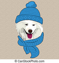 mosoly, vektor, karikatúra, samoyed, kutya, furcsa, csípőre szabott