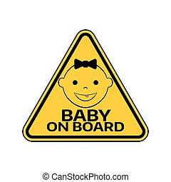 mosolygós, árnykép, autó, böllér, sárga cégtábla, háttér., figyelmeztetés, bizottság, gyermek, csecsemő, háromszög, white arc, leány