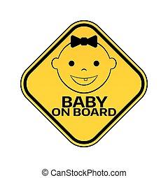 mosolygós, árnykép, leány, arc, autó, böllér, sárga cégtábla, háttér., bizottság, gyermek, csecsemő, warning., rombusz, fehér