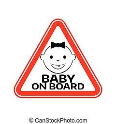 mosolygós, árnykép, leány, autó, böllér, aláír, háttér., bizottság, gyermek, csecsemő, háromszög, warning., arc, white piros