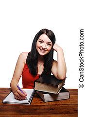 mosolygós, íróasztal, notepad, leány, írás
