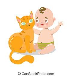 mosolygós, cat., style., boldog, vektor, ábra, emelet, csecsemő, csinos, karikatúra, ülés, lakás, játék