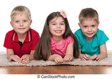 mosolygós, fehér, gyerekek, szőnyeg