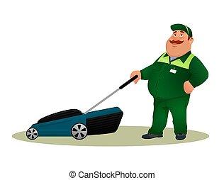mosolygós, furcsa, szolgáltatás, betű, elszigetelt, háttér., farmer, fehér, törődik, kertész, boldog, lakás, színes, illeszt, munkás, kövér, éles, ábra, mower., karikatúra, ember, pázsit, vektor, zöld fű