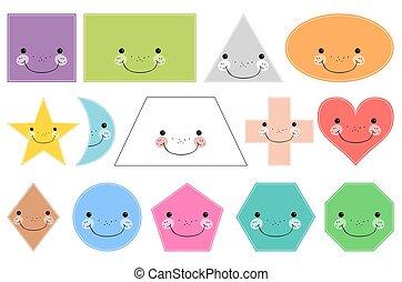 mosolygós, geometriai, shapes., elszigetelt, háttér, alapvető, fehér, karikatúra