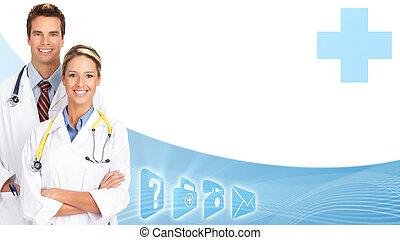 mosolygós, group., orvosi, orvosok