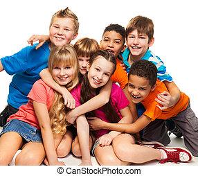 mosolygós, gyerekek, csoport, boldog