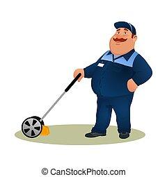 mosolygós, kék, furcsa, szolgáltatás, betű, elszigetelt, háttér., farmer, fehér, törődik, kertész, boldog, lakás, színes, illeszt, munkás, kövér, éles, ábra, mower., karikatúra, ember, pázsit, vektor, fű