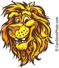 mosolygós, kabala, vektor, karikatúra, oroszlán