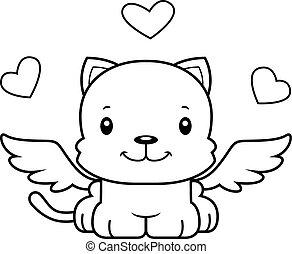 mosolygós, karikatúra, ámor, cica