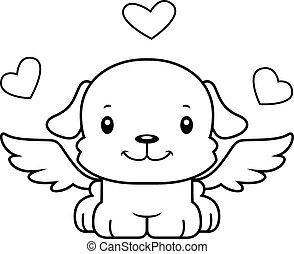 mosolygós, kutyus, karikatúra, ámor