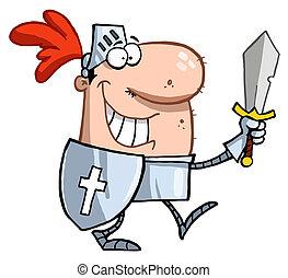 mosolygós, lovag, kard