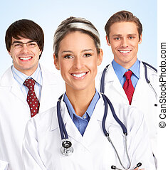 mosolygós, orvos, orvosi, woman.