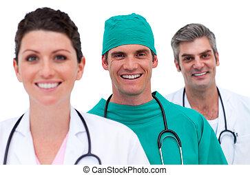 mosolygós, orvosi sportcsapat, portré