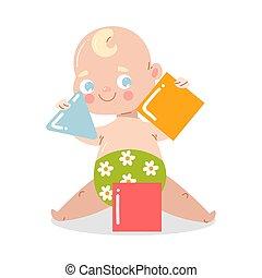 mosolygós, style., boldog, épület, vektor, ábra, blocks., emelet, csecsemő, csinos, karikatúra, ülés, lakás, játék