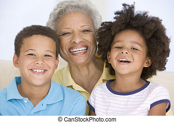 mosolyog woman, gyerekek, két, fiatal