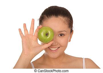 mosolyog woman, zöld alma, ázsiai