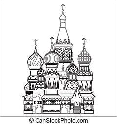 moszkva, vektor, szent, bazsalikom, székesegyház