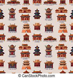 motívum, épület, seamless, karikatúra, kínai