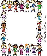 motívum, 2, barátság, seamless, gyerekek
